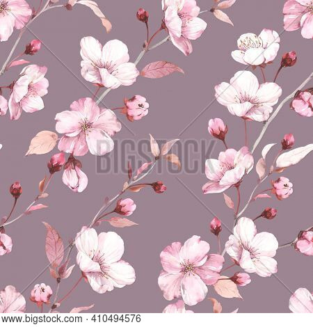 Blossoming flowers sakura on branches, seamless floral pattern on dark background, watercolor colorful illustration for floral textile, wallpaper or romantic cover.