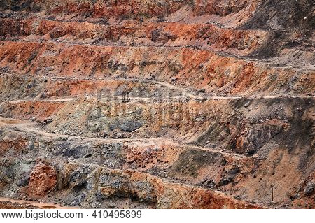 Stepped Slopes Of An Old Limestone Quarry
