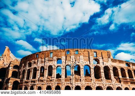 Roman amphitheatres in Rome, circular or oval open-air venues with raised seating built by the Ancient Romans, Rome, ITALY