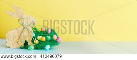 Happy Easter Day.bunny And Easter Egg.colorful Eggs.rabbit On Holiday, Easter Background .spring Sea