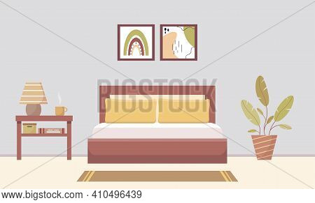 Modern Bedroom Interior With Bed, Lamp And Plant. Cozy Bedroom With Furniture. Paintings Above The B