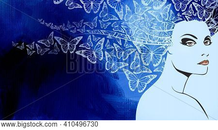 Conceptual Abstract Graphic Design Of Beautiful Woman's Face With Iconic Butterflies In Flight As He