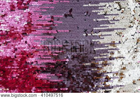 Sequins Macro Background.pink, Burgundy And Purple Sequins Background. Shiny Surface With Sequins..s