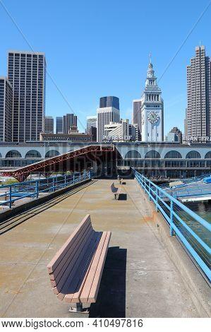 San Francisco, California. City Skyline Seen From The Port. San Francisco Skyline.