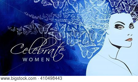 Conceptual Abstract Graphic Design Of Beautiful Woman's Face With Butterflies In Flight As Her Flowi