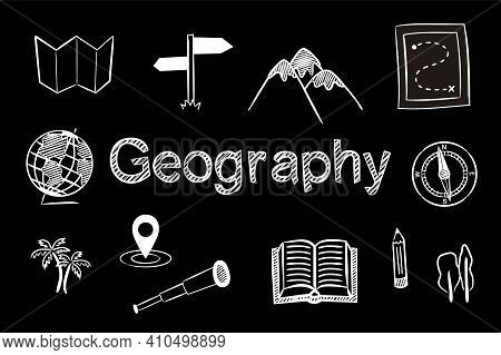 Set Of Chalk Hand Drawn Geographic School Icons. Pictograms Of Globe, Compass, Map, Route, Mountains