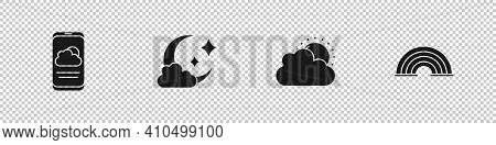 Set Weather Forecast, Cloud With Moon, Sun And Cloud Weather And Rainbow Icon. Vector