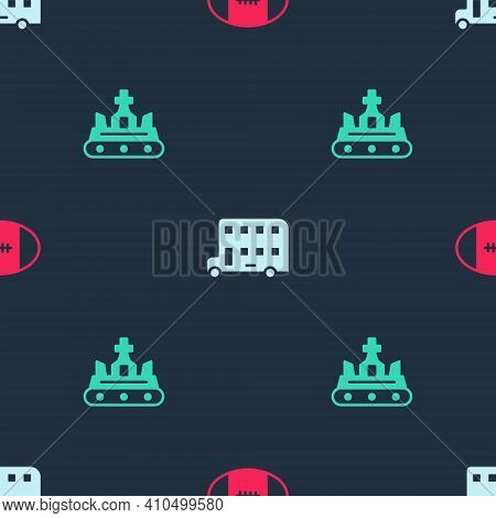 Set Rugby Ball, Double Decker Bus And British Crown On Seamless Pattern. Vector