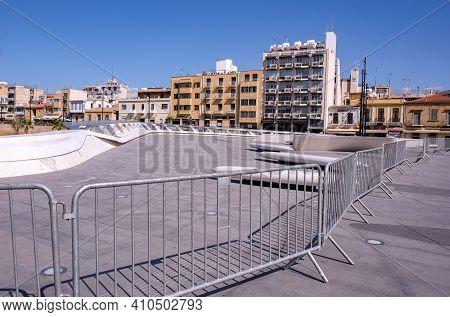 Nicosia Cyprus , February 27 2021: Metal Barriers At Eleftheria Square , Lockdown For Covid 19 Coron