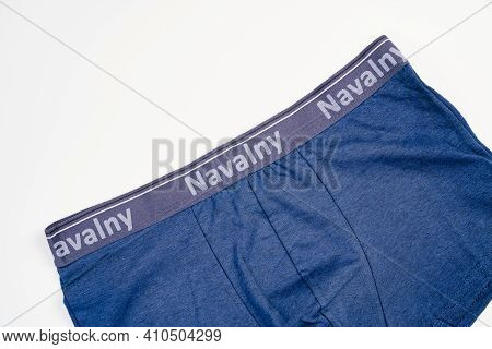 Blue Mens Panties With The Inscription Navalny On A White Background.