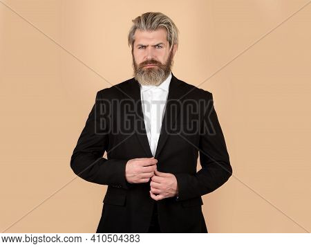 Business Fashion. Man In Black Suit. Luxury Classic Suits, Vogue. Male In Classic Suit, Shirt And Ti