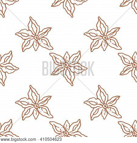 Line Art Seamless Pattern Star Anise For Fabric Design. Seamless Pattern. Abstract Background. White