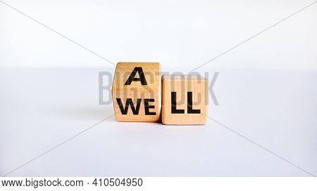 All Is Well Symbol. Turned Cubes With Words All Well. Beautiful White Table, White Background, Copy