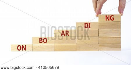 Success Onboarding Process Symbol. Wooden Blocks Stacking As Step Stair On White Background, Copy Sp
