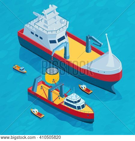 Isometric Commercial Fishing Square Composition With Small And Big Trawl Equipped Boats In Open Sea
