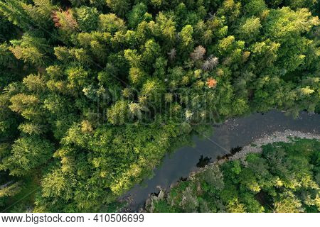 The Loire River close to its source crossing the Cevennes, France, Occitania