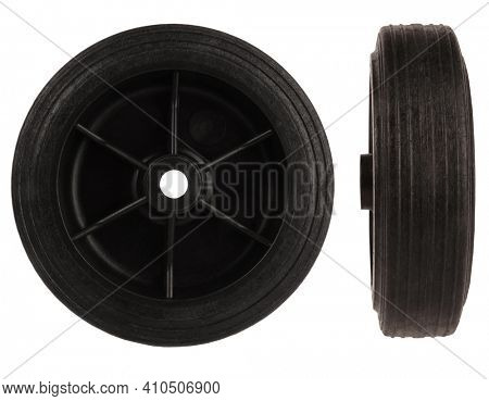 Black plastic wheel with tire isolated on white background