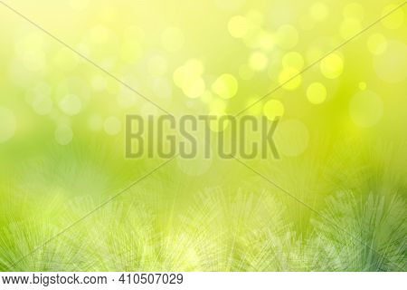 Hello Spring Background. Abstract Bright Spring Or Summer Landscape Texture With Natural Green Yello