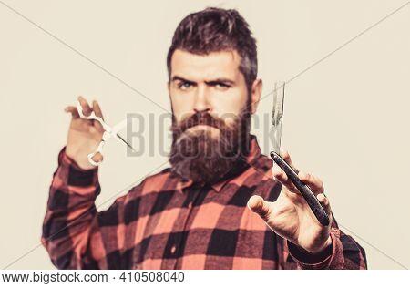 Beard Man, Bearded Male. Portrait Beard Man. Barber Scissors And Straight Razor, Barber Shop. Vintag