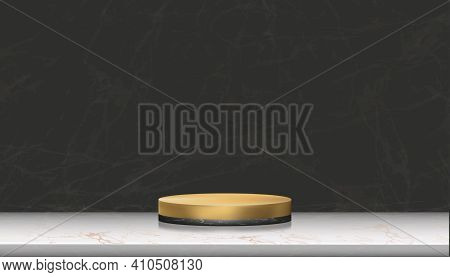 Minimal Podium Display With Black Marble And Yellow Gold Cylinder Stand On Rose Gold Foil Marble,vec