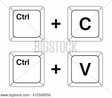 Ctrl C, Ctrl V Keys On The Keyboard, Copy And Paste The Key Combination. Insert A Keyboard Shortcut