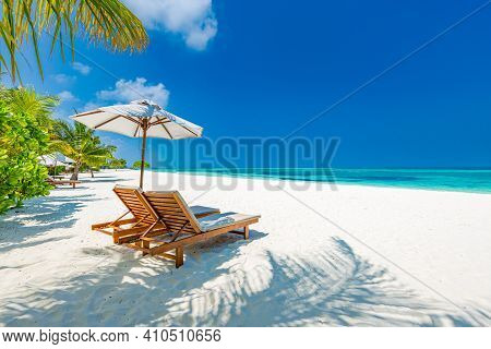 Tropical Paradise Beach With White Sand And Coco Palms Travel Tourism Wide Panorama Background. Luxu