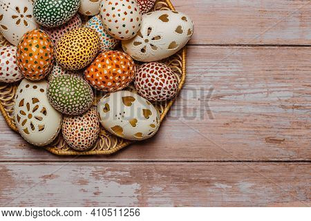Colorful Easter Egg Banner.above View With Copy Space.happy Easter Decoration Background,colorful Ha