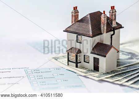 House on money and property information form, mortgage or property real estate tax