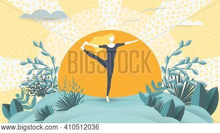 Spiritual Therapy For Body And Mind With Harmony Yoga Vector Illustration. Wellness And Health In Na
