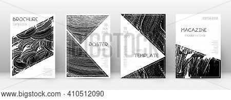 Cover Page Design Template. Triangle Brochure Layout. Classy Trendy Abstract Cover Page. Black Grung