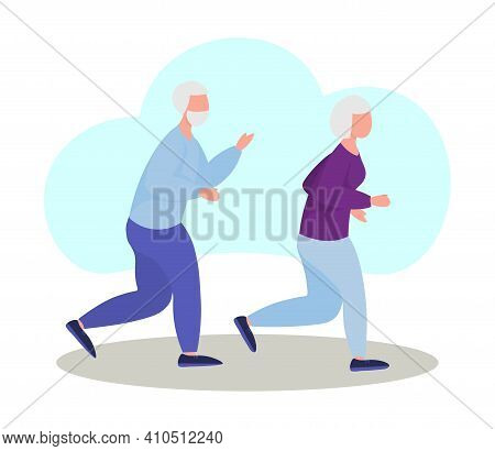 Seniors Jogging. An Elderly Man And An Elderly Woman Are Running. Retirees Lead A Healthy Lifestyle.