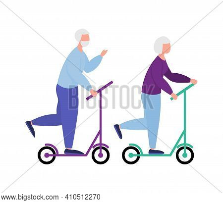 Seniors Ride Scooters Together. Ride Elderly Man And Elderly Woman . Retirees Lead A Healthy Lifesty