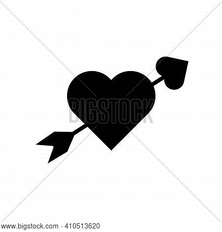 Lovestruck Sign. Arrow Through Heart Flat Vector Icon For Apps And Websites, Relationship Concept. B