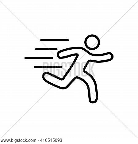 Running Sprinter Man Vector Illustration With Motion Blur Track Lines,abstract Silhouette Symbol, Si