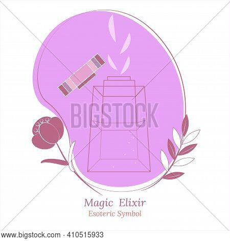 Magic Drink, Healing Elixir In Decorative Vessel, Bottle With  Lid. Magic Flower And Sleepy Grass. S