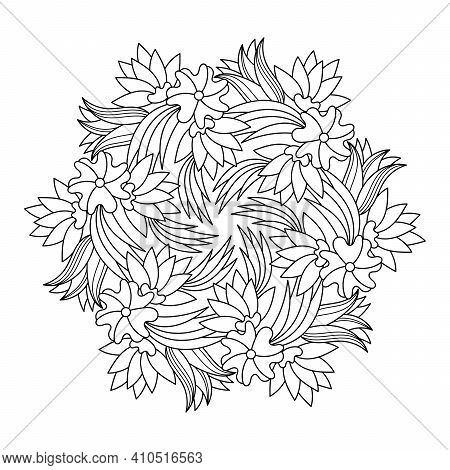 Coloring Book For Adult And Children. Mandala Flower With Modern Floral Style, Hand Drawn Mandala Pa