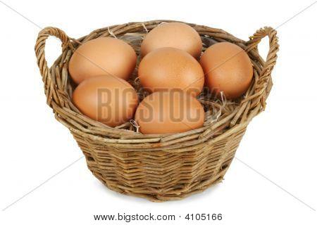 Wicker Basket With Eggs