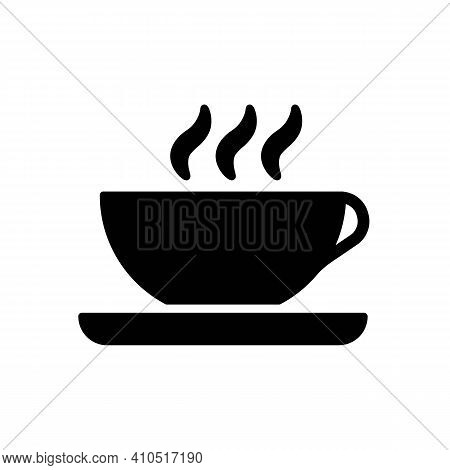 Coffee Or Tea Drink Line Icon All Black. Hot Cup Sign. Fresh Beverage Outline Isolated On White Back