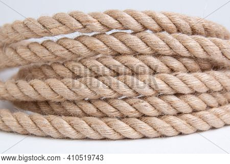 Twisted Rope Isolated On A White Background Close Up