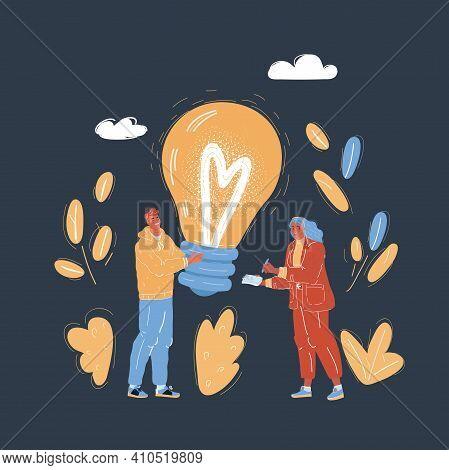 Vector Illustration Of Idea Lightbulb, Creative People Hold Lightbulb. Symbol Of Cooperation. Partne