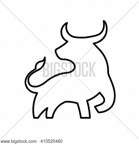 Bull Linear Icon In Black. Creative Bull Outline Symbol. Isolated Contour Sign On White Background .