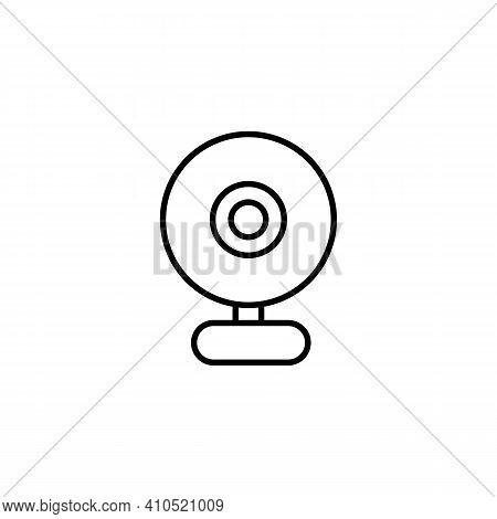 Web Camera Icon Thin Line In Black. Illustration For Web And Mobile, Site, App, Ui, Ux, Modern Minim