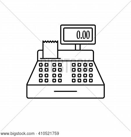 Cash Register Line Icon In Black. Machine, Counter, Cashier. Ecommerce Concept. Simple Illustration