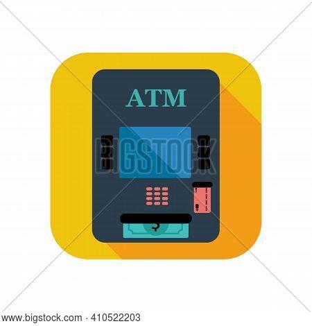 Atm Bank Line Color Icon. Payment Machine Logo. Outline Payment Concept. Trendy Flat Illustration Fo