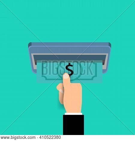 Hand Taking Cash From Atm. Payment Through Concept. Withdrawal Of Money Via Terminal Illustration. S