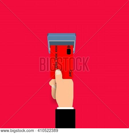 Hand Insert Credit Card In Atm Line Icon. Isolated Illustration. Bank Card Or Payment Concept. Trend
