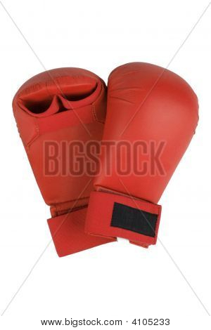 Red karate gloves. Isolated on white. Clipping path included. poster