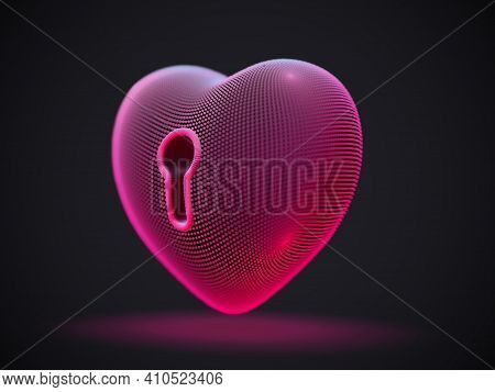 3d Red Heart With Keyhole On Gray Background. Abstract Concept Of Online Dating And Virtual Love: Fu
