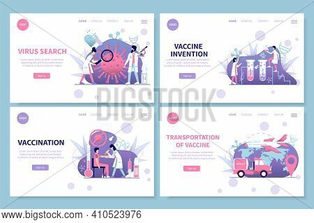 Coronavirus Search Vaccine Invention Transportation And Vaccination Flat Banners Set Isolated Vector