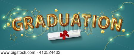 Congratulation Graduates 2021class Of Graduations. Vector Illustration Of The Word Graduation In Gol